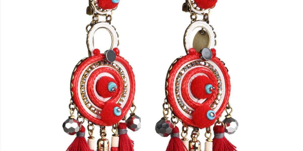 Asymmetrical Cloisonne and Pearl Earrings