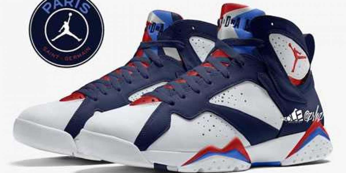CZ0789-105 PSG x Air Jordan 7 White/College Navy-Sport Royal-University Red is rumored to be released in 2021