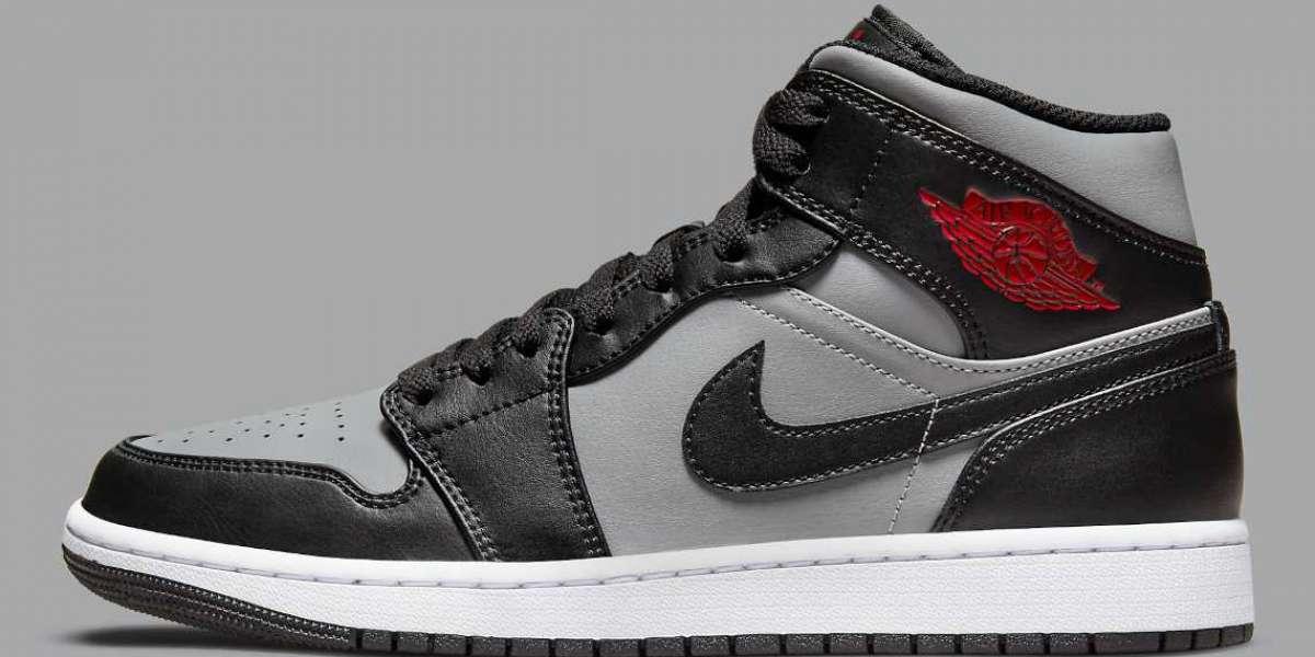 "Air Jordan 1 Mid ""Grey/Black/Red"" 554724-096 release information"